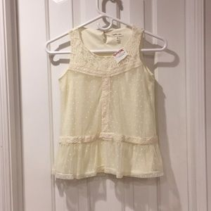 Sophia & Zeke girls cream lace top-new with tags!